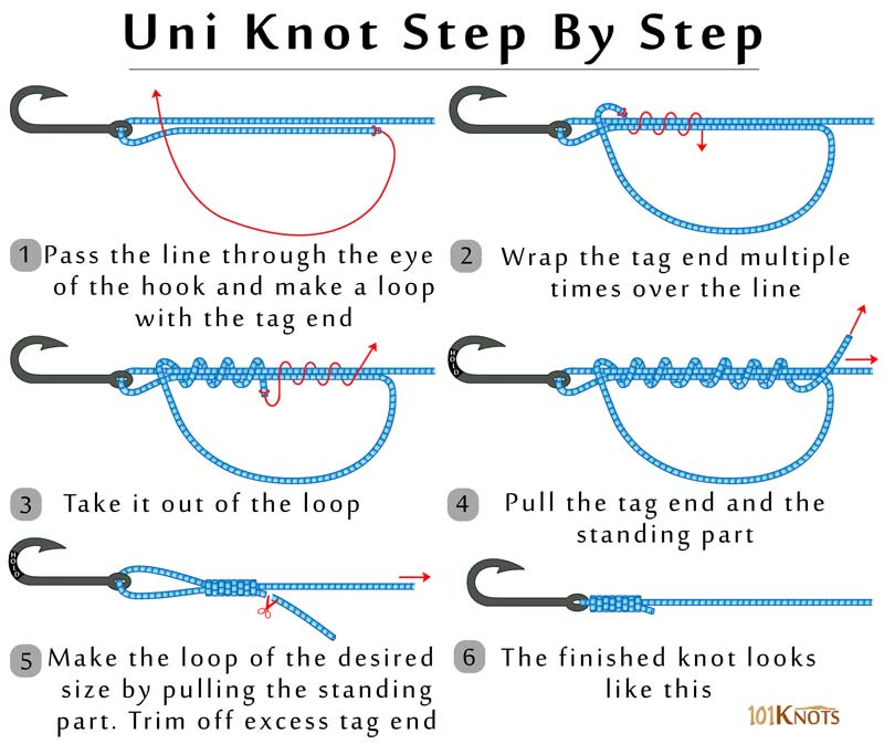 Tying a uni knot instructions and diagram 101 knots for Fishing knots for braided line