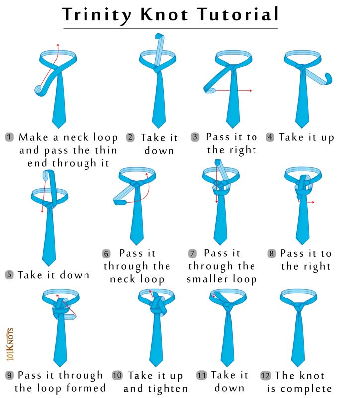how to tie a trinity knot 101 knots rh 101knots com Eldredge Tie Knot Double Windsor Knot Diagram